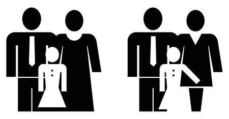 Vader, moeder en dochter - vectorillustratie, zwart op wit.  Stockfoto - 9329279