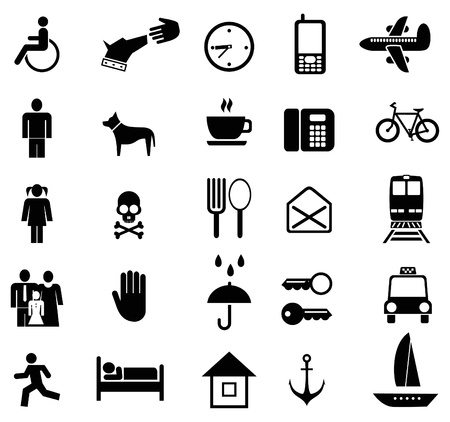 menue: Set of vector pictograms. Black icons on white. Simple pictures of people and objects.