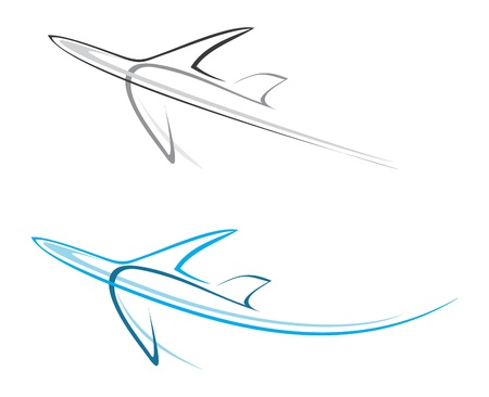 passenger plane: Flying airplane - stylized illustration. Grey icon on white background. Isolated design element. Airliner. Can be used as logotype.