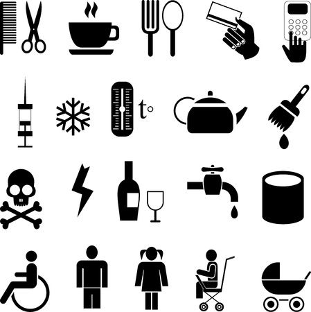 Set of simple vector icons. Isolated black pictograms on white background.