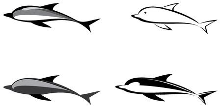 Delfín - ilustración aislada, icono. Imagen de escala de grises de contorno. Puede utilizarse como logo (logotipo).