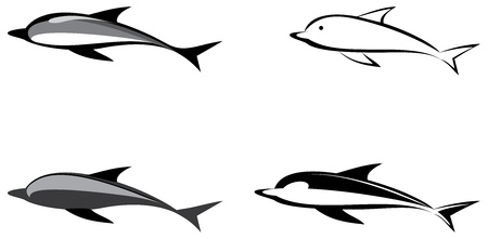 Dolphin - isolated illustration, icon. Outline grayscale image. Can be used as logo (logotype).  Vector