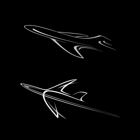 airline: Flying planes - stylized illustration on black. Outline, icon. Isolated design element. Airliner. Can be used as logotype.