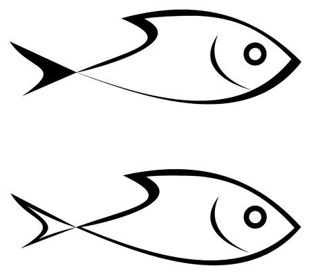 peces de agua salada: Mar-peces - icono de contorno estilizada sobre fondo blanco. Comida de mar. S�mbolo, tatuaje, icono.