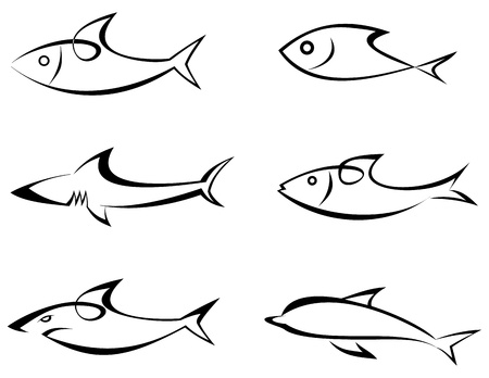 seafoods: Fishes - set of outline vector icons. Stylized image, isolated. Game-fish. Can be used as logotype. Icon that represents fish and seafoods products or its value in the product. Symbol, emblem, sign. Tattoo. Design elements.