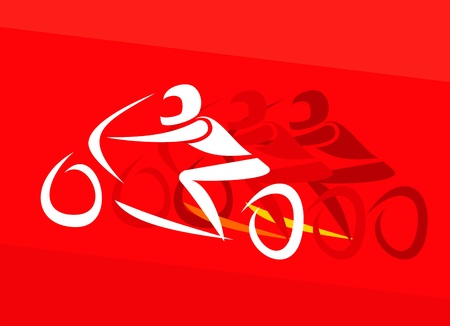 motorcycle racing: Moto Racing - vector illustration. Red background.