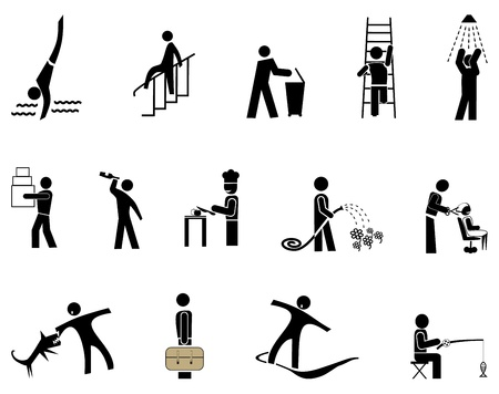 fisher man: People in action - set of vector icons, pictograms. Black simple images on white.