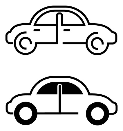 rent a car: Car - vector icon on white. Isolated. Outline. Design elements. Can be used as logotype (logo) for car company. Illustration