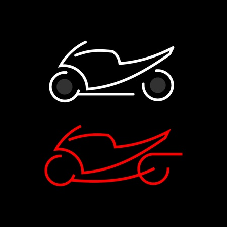 Motorcycle - vector icon. Outline on black. Fast sportbike. Can be used as logotype.