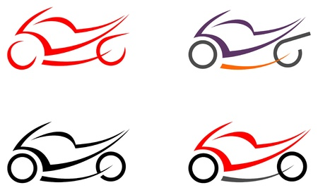 Motorcycle on white background - vector icon. Can be used as logo. Tattoo sketch. Design element.