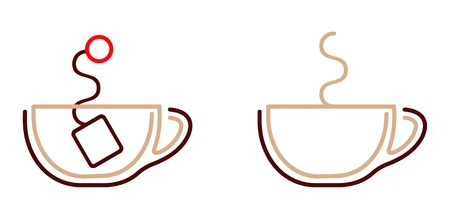 instruct: Cup of tea with tea bag. Coffee cup. Vector icon. Isolated items on white. Smooth lines. Illustration