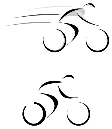 Racing cyclist - vector illustration, sketch. Black icon on white.