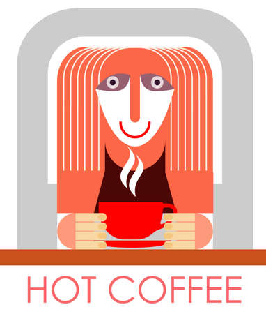 woman drinking milk: The girl drinks coffee in cafe - vector illustration.