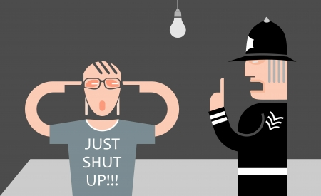 explain: England policeman and teenager - vector illustration. Police is explaining something to a young man, but he refuses to listen to him.