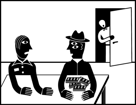 Man is afraid to give their money - black and white vector illustration. Stock Vector - 10264353
