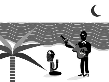 tempt: Beautiful woman on the beach and man playing guitar for her - vector illustration.