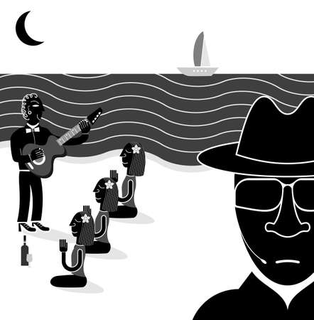 wears: Man wears dark glasses and black coat. The musician plays the guitar for beautiful women on the beach. Funny vector illustration. Illustration
