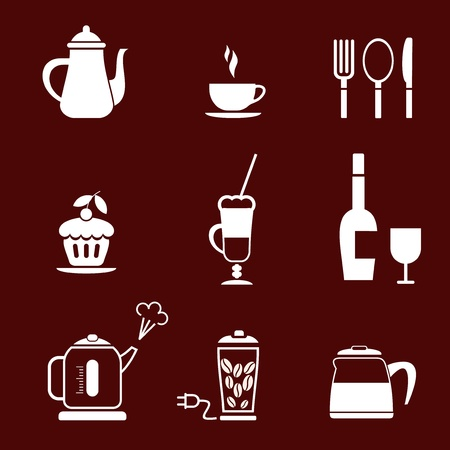 boiling tube: Morning Coffee - set of icon for cafe, bar, restaurant. etc. Illustration