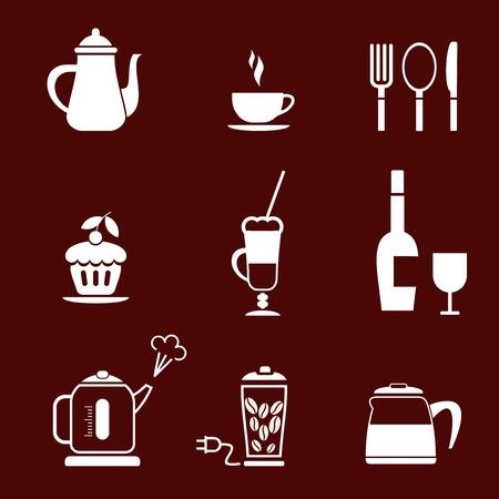 cafe bar: Morning Coffee - set van pictogram voor cafe, bar, restaurant. etc. Stock Illustratie