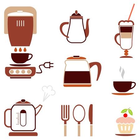 brownie: Caf� - conjunto de vector icono de color caf�, bar, restaurante. etc..