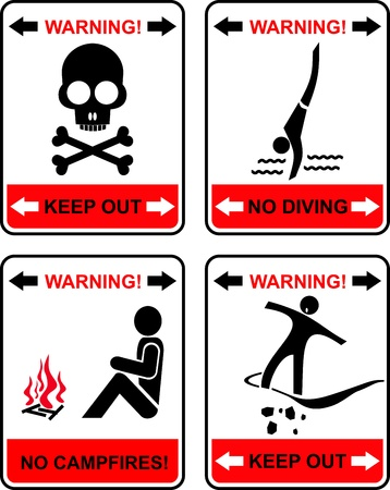 keep out: Prohibited signs - set of isolated icons. No campfires, no diving, keep out. Black and red on white background. Illustration