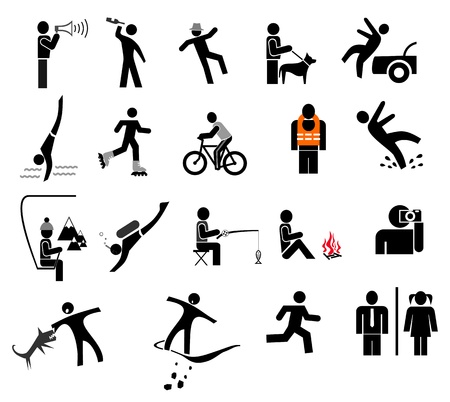beware: People in action - set of isolated icons. Black and white simple pictogram.