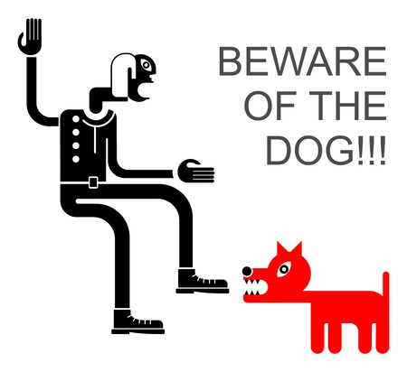 kampfhund: Beware of the Dog - isoliert Symbol. Wütend Hund Angriffe Mann.