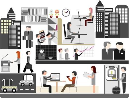 firme: Oficina de la empresa - ilustración de color. Trabajadores de oficina haciendo su trabajo. Gente en el trabajo. Negocio.
