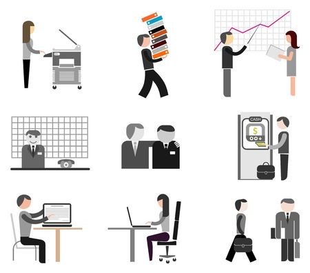 prove: Business, office of company - set of icons. Businesspeople at work. Isolated icons on white. Illustration
