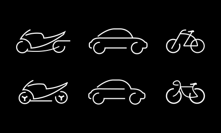 Car, bike, motorbike - set of isolated vector icons. White outline on black background. Can be used as logotype or symbol for sport team, company, club etc.  Vector