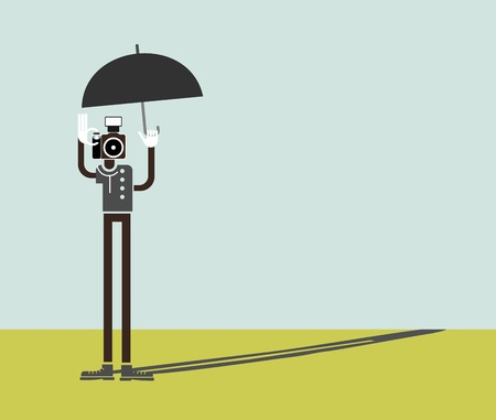 instead: Lonely man with a camera instead of a head and with an umbrella in his hand. Color vector illustration. Can be used as background for some text. Illustration