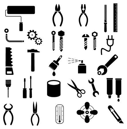 adjustable wrench: Hand tools - set of icons. Isolated symbols on white background.  Illustration