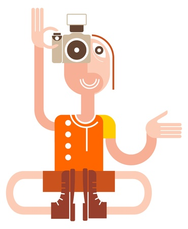 Photographer sitting in the lotus position. Smiling yogi with a camera - isolated illustration on white background. Funny man. Stock Vector - 10527991