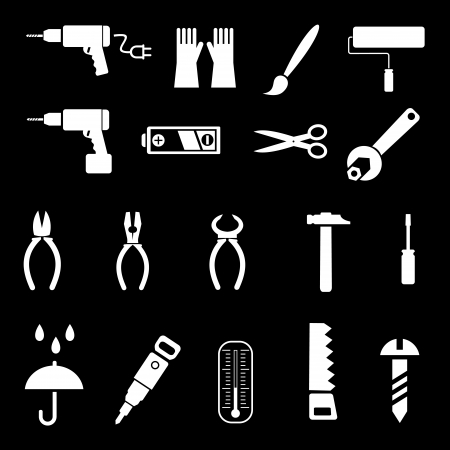 drill: Hand tools and DIY tools - set of icons. Isolated symbols on black background.