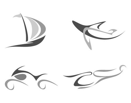 flying boat: Avi�n, barco, helic�ptero, moto - conjunto de icono vector aisladas sobre fondo blanco.