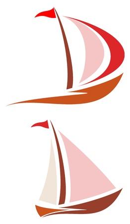 deportes nauticos: Barco de vela. Barco de vela blanca en el agua azul. Yate que navega sobre las olas. Imagen estilizada de los barcos con las velas flotantes de color rojo y rosa y la bandera roja. Puede ser utilizado como logotipo del club de yates, marinas club, hotel, etc Vectores