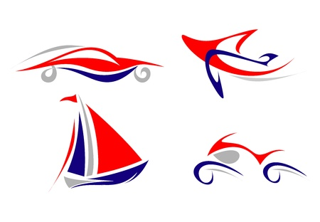 yachts: Airplane, Yacht, Car, Motorcycle - set of isolated icon on white background. Blue , grey, red. Outline. Illustration