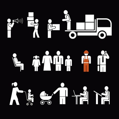 calling: People of different professions. People at work - set of isolated icons. Pictograms, design elements. White simple pictograms on black background.