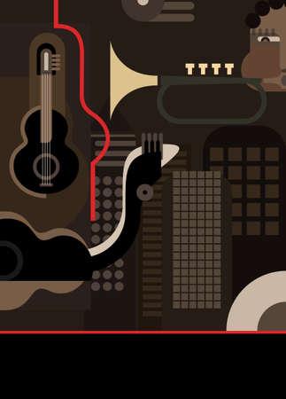jazz club: Instruments de musique, illustration vectorielle de couleur. Arri�re-plan avec la place pour un texte. Trompette jouant de musicien.