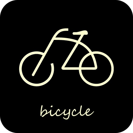 racing bike: Bike - isolated vector icon on black background. Design element - button. Sign. Can be used as logotype or symbol. Illustration