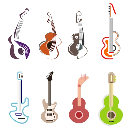 electric guitars: Acoustic and Electric guitars - set of color vector icons. Isolated on white background. Design elements. Can be used as logotype.