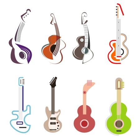 gitara: Akustyczne i elektryczne gitary - zestaw ikon wektorowych kolorów. Pojedynczo na białym tle. Elementów. Może być używany jako znak rozpoznawczy.
