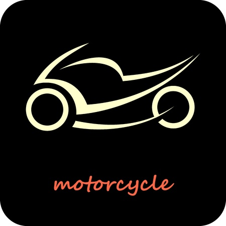 Sport Motorcycle - vector icon. Outline on black. Fast sportbike. Can be used as logotype. Vector