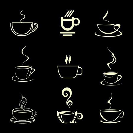 capuccino: Cups of Coffee - set of isolated vector icons. On black background.