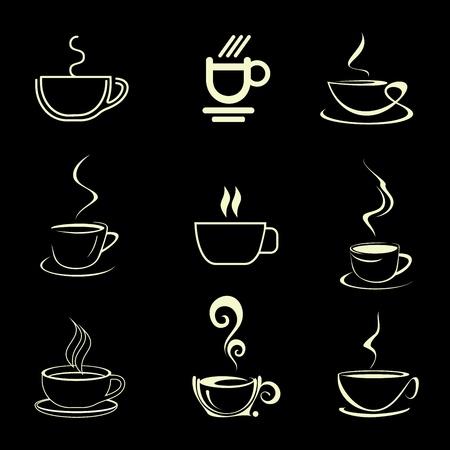 artes plasticas: Tazas de caf� - conjunto de iconos vector aislados. Sobre fondo negro. Vectores