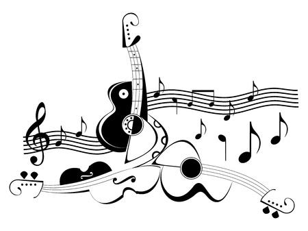 clave de sol: Instrumentos musicales - guitarra y viol�n. Ilustraci�n vectorial abstracta de blanco y negro. Instrumentos de cuerda y notas de m�sica.