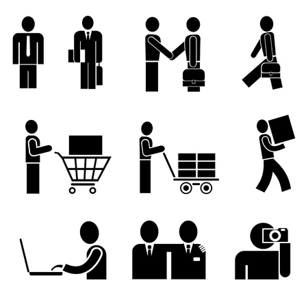 Bisiness people working in an office - set of isolated vector icons on white.  Illustration