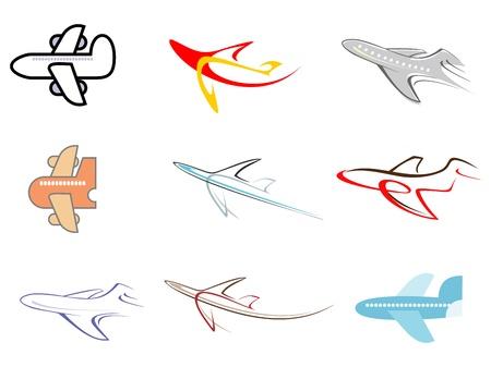 aerei: Aereo - set di icone vettoriali isolati.
