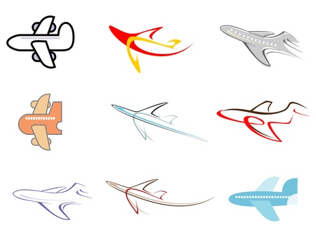 airway: Airplane - set of isolated vector icons.