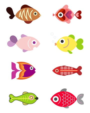 fish icon: Ornamental aquarium fishes - set of color illustrations, isolated design elements on white background.